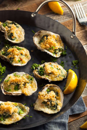 Homemade Creamy Oysters Rockefeller with Cheese and Spinach
