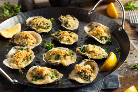 baked: Homemade Creamy Oysters Rockefeller with Cheese and Spinach