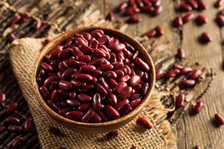 edible plant: Raw Red Organic Kidney Beans in a Bowl Stock Photo