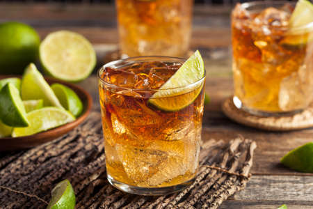 cocktail: Dark and Stormy Rum Cocktail with Lime and Ginger Beer