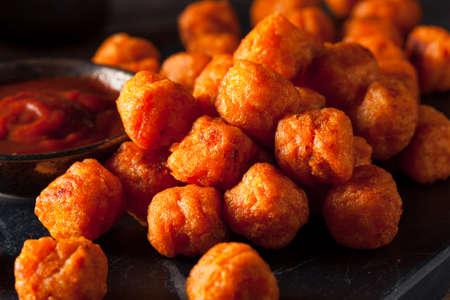 tots: Homemade Sweet Potato Tater Tots with Ketchup Stock Photo