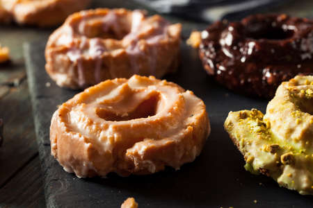 glaze: Homemade Old Fashioned Donuts with Chocolate and Glaze