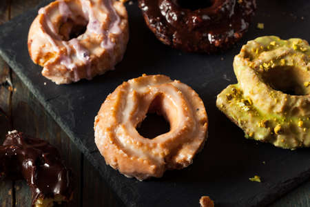 dough nut: Homemade Old Fashioned Donuts with Chocolate and Glaze