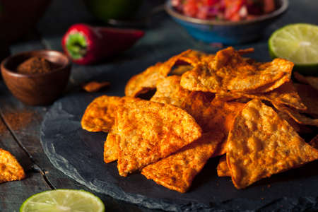 tortilla chips: Homemade Chili Lime Tortilla Chips with Salsa Stock Photo