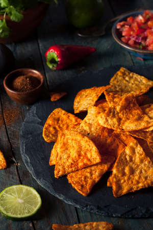 chips and salsa: Homemade Chili Lime Tortilla Chips with Salsa Stock Photo