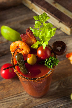 bloody: Homemade Bacon Spicy Vodka Bloody Mary with Tomatos, Olive and Celery