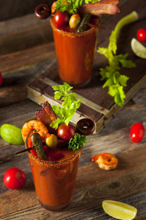 bloody mary: Homemade Bacon Spicy Vodka Bloody Mary with Tomatos, Olive and Celery