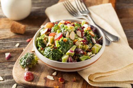 broccoli salad: Homemade Green Broccoli Salad with Grapes Onion and Bacon