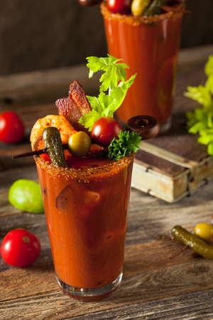 bloodymary: Homemade Bacon Spicy Vodka Bloody Mary with Tomatos, Olive and Celery