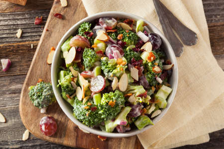 broccoli salad: Homemade Green Broccoli Salad with Grapes Onion and Bacon