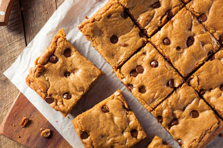 blondie: Homemade Chocolate Chip Blondies Cut Into Squares