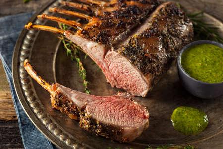 Homemade Herb Roast Lamb with Green Sauce Zdjęcie Seryjne