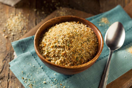 crumbing: Organic Homemade Bread Crumbs Ready for Cooking Stock Photo
