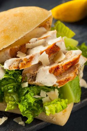 romaine: Homemade Chicken Caesar Sandwich with Cheese and Lemon