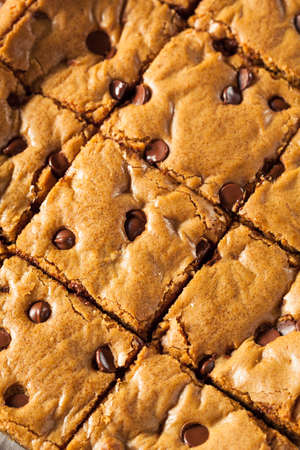 chocolate chip: Homemade Chocolate Chip Blondies Cut Into Squares