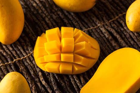 ripe: Raw Organic Yellow Mangos Ready to Eat Stock Photo