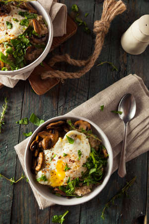 savory: Healthy Homemade Savory Oatmeal with Eggs Mushrooms and Spinach
