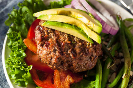 Fresh Grilled Paleo Hamburger with Veggies and Bacon