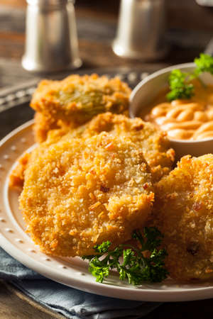 soul food: Homemade Fried Green Tomatoes Ready to Eat Stock Photo