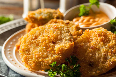 Homemade Fried Green Tomatoes Ready to Eat Stok Fotoğraf