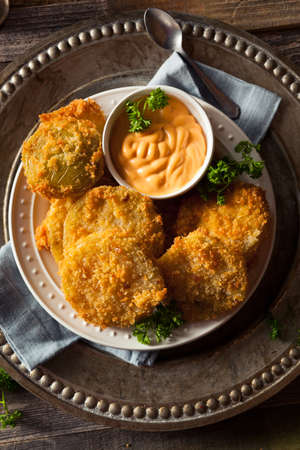 prepared dish: Homemade Fried Green Tomatoes Ready to Eat Stock Photo