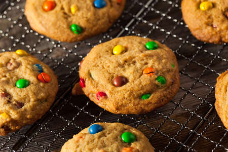 chocolate chip: Homemade Candy Coated Chocolate Chip Cookies Ready to Eat Stock Photo