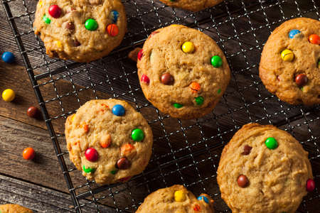coated: Homemade Candy Coated Chocolate Chip Cookies Ready to Eat Stock Photo
