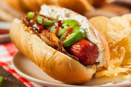 cream cheese: Homemade Seattle Style Hot Dog with Cream Cheese and Onions Stock Photo