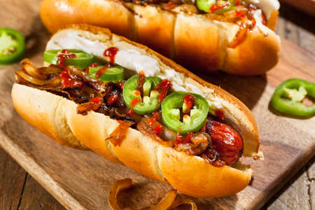 Homemade Seattle Style Hot Dog with Cream Cheese and Onions Stockfoto