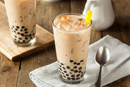 Homemade Milk Bubble Tea with Tapioca Pearls
