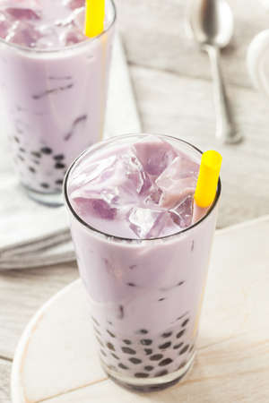 taro: Homemade Taro Milk Bubble Tea with Tapioca Pearls