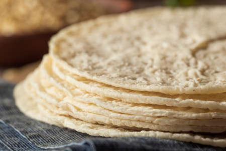 tortillas: Homemade White Corn Tortillas in a Stack