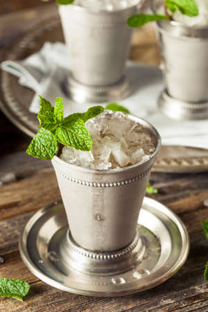 mint: Cold Refreshing Classic Mint Julep with Mint and Bourbon Stock Photo