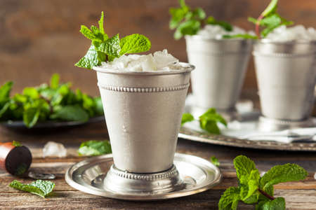Cold Refreshing Classic Mint Julep with Mint and Bourbon Stok Fotoğraf