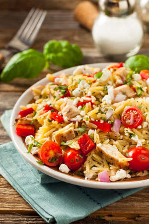 Homemade Chicken Orzo Salad with Peppers and Feta Stok Fotoğraf