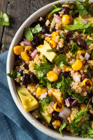 southwestern: Homemade Southwestern Mexican Quinoa Salad with Beans Corn and Cilantro