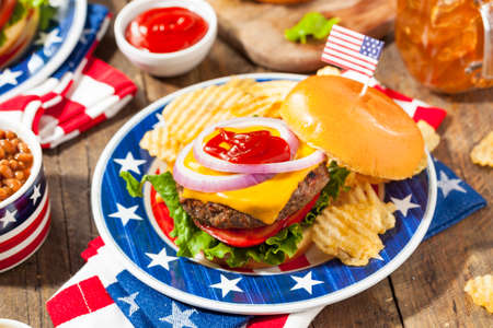 memorial: Homemade Memorial Day Hamburger Picnic with Chips and Fruit