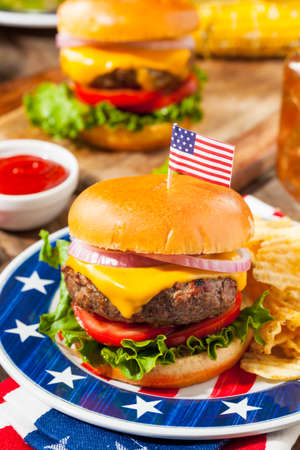 Homemade Memorial Day Hamburger Picnic with Chips and Fruit
