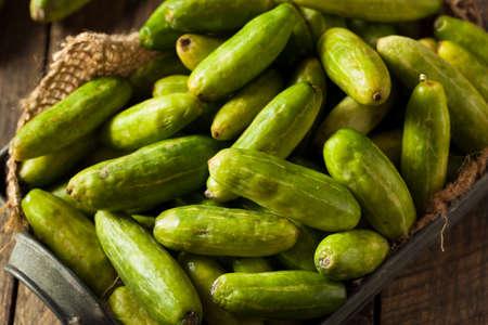Raw Green Organic Tindora in a Basket Stock Photo