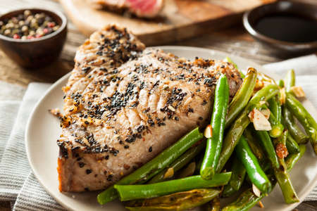 Homemade Grilled Sesame Tuna Steak with Soy Sauce Stock Photo