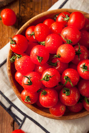 Raw Organic Red Cherry Tomatoes Ready to Eat Banco de Imagens