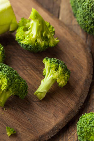 florets: Healthy Green Organic  Raw Broccoli Florets Ready for Cooking
