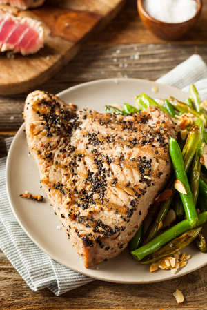 red cooked: Homemade Grilled Sesame Tuna Steak with Soy Sauce Stock Photo