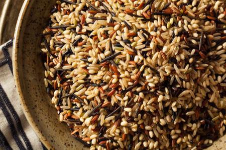 Prima orgánica seca de arroz salvaje en un tazón de fuente Foto de archivo - 57751511