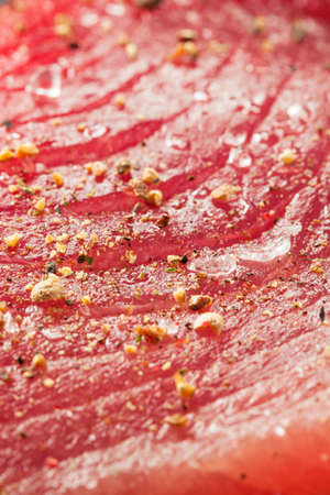 ahi: Raw Organic Pink Tuna Steak with Salt and Pepper