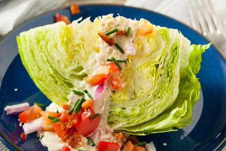 wedge: Healthy Green Wedge Salad with Blue Cheese Dressing