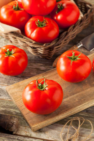 Raw Organic Red Beefsteak Tomatoes Ready for Cooking