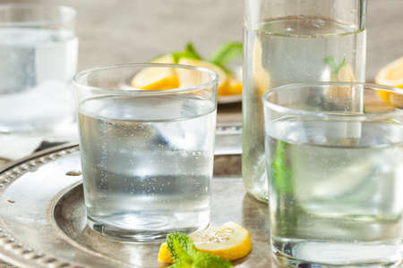sparkling water: Refreshing Clear Sparkling Water with Lemon and Mint