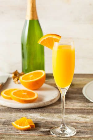 Homemade Refreshing Orange Mimosa Cocktails with Champagne