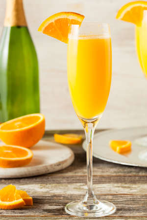 mimosa: Homemade Refreshing Orange Mimosa Cocktails with Champagne